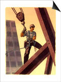 A Steel Worker Standing on Beams Prints
