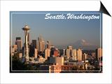 Seattle, Washington - Skyline and Rainier Art by  Lantern Press