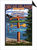 Orcas Island, WA - Destination Sign Posters by  Lantern Press