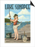 Lake Sunapee, New Hampshire - Pinup Girl Fishing Posters by  Lantern Press