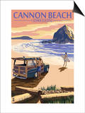 Cannon Beach, Oregon - Woody and Haystack Rock Prints by  Lantern Press
