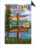 Whitefish, Montana - Sign Destinations Prints by  Lantern Press