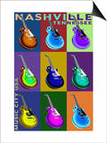 Nashville, Tennessee - Guitar Pop Art Prints by  Lantern Press