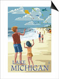 Lake Michigan - Children Flying Kites Posters af Lantern Press