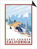 Downhhill Snow Skier, Lake Tahoe, California Posters by  Lantern Press