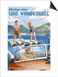 Lake Winnipesaukee, New Hampshire - Water Skiing Scene Posters by  Lantern Press