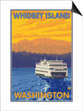 Ferry and Mountains, Whidbey Island, Washington Prints