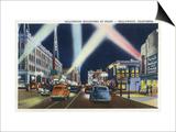 Hollywood, California - Hollywood Boulevard at Night Posters by  Lantern Press
