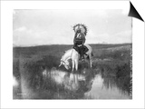 Cheyenne Indian, Wearing Headdress, on Horseback Photograph Prints by  Lantern Press
