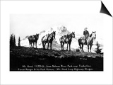 Salmon River Park, Oregon - Man with Horses, Mt Hood in Distance Prints by  Lantern Press