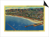 Yacht Harbor, The Palisades, and Santa Monica Beach - Santa Monica, CA Posters