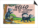 Comic Cartoon - Hello from One Stinker to Another; Two Skunks Art