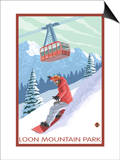 Loon Mountain Park - Snowboarder and Tram Poster by  Lantern Press