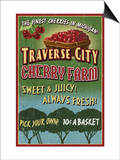 Traverse City, Michigan - Cherry Farm Posters by  Lantern Press