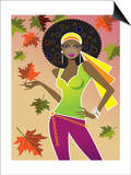 Woman in Retro Autumn Fashion Prints