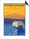 Ferry and Mountains, Puget Sound, Washington Poster