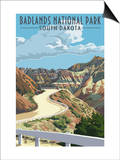 Badlands National Park, South Dakota - Road Scene Prints by  Lantern Press