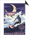 Folly Beach, SC - Sufer with Palmetto Moon Posters by  Lantern Press