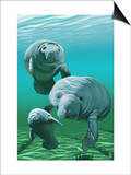 Manatees Prints by  Lantern Press