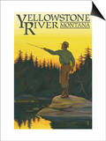 Yellowstone River, Montana - Fly Fishing Scene Posters by  Lantern Press