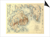 Acadia National Park - Topographic Panoramic Map Poster by  Lantern Press