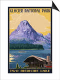 Two Medicine Lake - Glacier National Park, Montana Prints by  Lantern Press