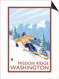Downhhill Snow Skier, Mission Ridge, Washington Art by  Lantern Press