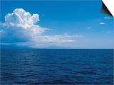 Serene Ocean and Vast Horizon under Cloudy Sky Poster