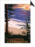 Cambria, California - Sunset & Surfers Poster by  Lantern Press