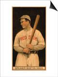Boston, MA, Boston Red Sox, Tristam Speaker, Baseball Card Poster by  Lantern Press