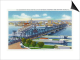 Davenport, Iowa, Aerial View of Bridge and Roller Dam between City and Rock Island, IL Poster by  Lantern Press