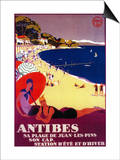 Antibes Vintage Poster - Europe Posters by  Lantern Press