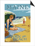 York Beach, Maine - Beach Scene Art