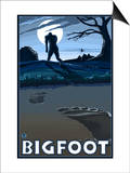 Big Foot walking through Golf Course Print