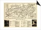 Great Smoky Mountains National Park - Panoramic Map Prints by  Lantern Press