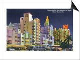 Miami Beach, Florida - City Scene at Night Art by  Lantern Press
