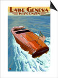 Lake Geneva, Wisconsin - Chris Craft Wooden Boat Print by  Lantern Press