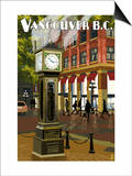Vancouver, BC - Steam Clock Prints by  Lantern Press