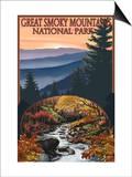 Great Smoky Mountains - Waterfall, c.2009 Prints by  Lantern Press