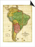 South America - Panoramic Map Print