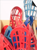 Red and Blue Lacrosse Sticks Inside Storage Bin Posters