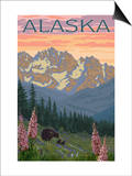 Alaska - Bear and Cubs Spring Flowers Art by  Lantern Press