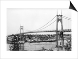 Portland, OR View of St. John Bridge over Columbia Photograph - Portland, OR Print by  Lantern Press