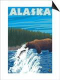 Alaska Bear Fishing for Salmon Posters by  Lantern Press