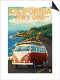 California Highway One Coast VW Van Posters by  Lantern Press