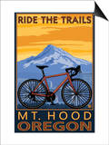 Mt. Hood, Oregon - Ride the Trials Prints by  Lantern Press