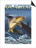Trout Fishing Cross-Section, Glacier National Park, Montana Poster von  Lantern Press