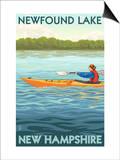 Newfound Lake, New Hampshire - Kayak Scene Art by  Lantern Press