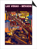 Las Vegas Strip at Night Art by  Lantern Press