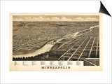 Minneapolis, Minnesota - Panoramic Map Posters by  Lantern Press